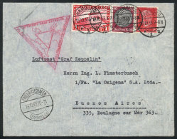 Cover Flown By Zeppelin, Sent From Hamburg To Buenos Aires On 13/OC/1933, With Special Triangular Rose Handstamp Of... - Germany