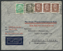 Airmail Cover Sent From Hamburg To Buenos Aires On 19/JA/1934 By Aeropostale, Franked With 1.85Mk, With Lyon... - Germany