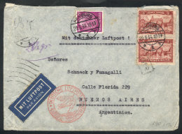Airmail Cover Sent From Hamburg To Buenos Aires On 29/MAR/1934 Franked With 6.40Mk. Including A Vertical Pair Of... - Germany