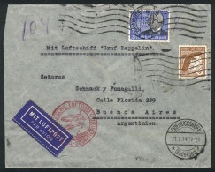 Cover Sent Via Zeppelin From Hamburg To Buenos Aires On 20/JUL/1934 Franked 3.25Mk, With Friedrichshafen Transit... - Germany
