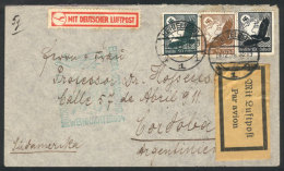 Cover Flown By Zeppelin To Argentina On The Special Christmas Flight Of 1934, With Interesting Yellow Airmail... - Germany