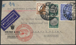 Airmail Cover Franked With Sc.C44 (catalog Value US$260) + Other Values, Sent From Leipzig To Argentina On... - Germany