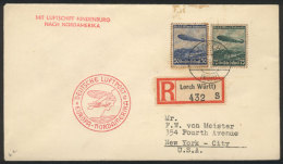 Cover Flown On The Hindenburg, Sent From Lorch To New York On 7/MAY/1936, Arrival Backstamps, Minor Staining Else... - Germany