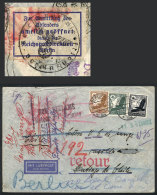 Airmail Cover Sent From Berlin To Santiago De Chile On 10/FE/1938 And RETURNED TO SENDER With Several Marks And... - Germany