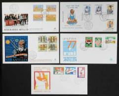 5 Modern First Day Covers, VERY THEMATIC, Excellent Quality, Low Start! - Curacao, Netherlands Antilles, Aruba