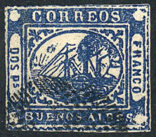 GJ.5, 2P. Blue, Ponchito Cancel, Very Fresh And Attractive, VF Quality! - Buenos Aires (1858-1864)