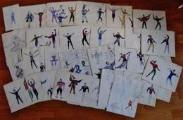 LOT DE 22 AQUARELLES + 5 DESSINS AU CRAYON THEME DANSE - Watercolours