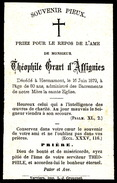 DOODSPRENTJE :: ADEL NOBLESSE :: THEOPHILE GRART D'AFFIGNIES - HERMAMONT 1879   80 JAAR OUD - Todesanzeige