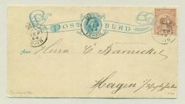 Nederland - 1894 - 7,5 Cent Hangend Haar Op Postblad Van Delft Naar Hagen / Duitsland - Periode 1891-1948 (Wilhelmina)