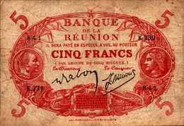 LA REUNION 5 FRANCS De 1942-44nd  Pick 14 - Reunion