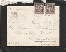25c Sage Noir/rose N°97 Sur Enveloppe En Paire Pour L'Angleterre, Cachet De Condé Sur Noireau (calvados). - Marcophilie (Lettres)