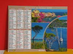 Calendrier Oberthur > Porquerolles,St Tropez 83,Calanque 13,Antibes 06 - Almanach Facteur 2015 Comme Neuf - Calendriers