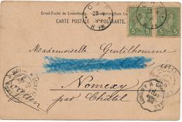 Luxembourg CAP 5cx2 Pour Nancy, Ambulant Longny A Charleville - 1895 Adolphe Profil