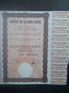 1 Sté La TOUR Eiffel Action 10 FR + Coupons Signé Eiffel Rarity - Azioni & Titoli