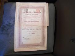 """Action Privilégiée """"La Sucrière Generale""""(sucre) Bruxelles 1908 Bon état N°3024 Coupons Attachés Avec Une épingle. - Industrie"""