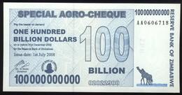 Simbabwe / Zimbabwe 100 Billion Dollar P.64 V. 1.7.2008 Unzirkuliert - Zimbabwe