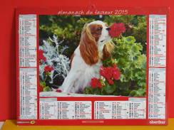Calendrier Oberthur > Cavalier King Charles,Yorkshire Et Son Chiot - Almanach Facteur 2015 Comme Neuf - Calendriers
