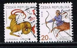 Tschechische Republik 1998/9, Michel# 199 + 226 O Sternbilder - Tschechische Republik