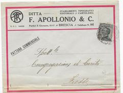 STORIA POSTALE REGNO - BUSTA INTESTATA APOLLONIO BRESCIA FATTURA AFFRANCATA MICHETTI - 1900-44 Vittorio Emanuele III
