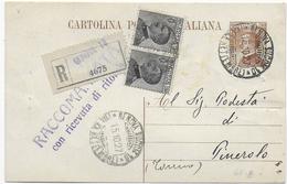 STORIA POSTALE REGNO - INTERO POSTALE MICHETTI RACCOMANDATO CON COPPIA MICHETTI - 1900-44 Vittorio Emanuele III