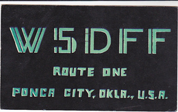 1956 QSL RADIO CARD W5DFF Ponka City Oklahoma USA To Germany,  Stamps, Postcard Cover - Radio Amateur
