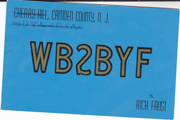1964 QSL CARD WB2BYF Cherry Hill New Jersey USA To Germany, Stamps Cover  Radio Card Postcard - Radio Amatoriale