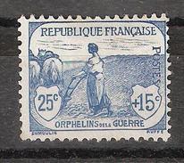 France, 1917 , Type Orphelins De La Guerre, Yvert N° 151 , 25 C + 15 C Bleu Neuf (*), TB , Cote * 90 Euros - Caisse D'Amortissement