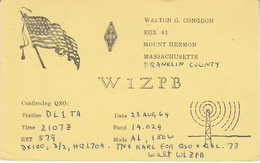 1965 QSL CARD W1ZBP Mount Herman Massachusetts USA To Germany, Stamps Cover Radio Card Postcard - Radio Amatoriale