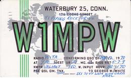 1970 Waterbury CONN USA QSL RADIO W1MPW Postcard EINSTEIN Stamps 'HELP RETARDED CHILDREN SLOGAN' Pmk Cover Card - Radio Amateur