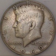 STATI UNITI Mezzo Dollaro Kennedy 1969 MONETA In ARGENTO - Federal Issues