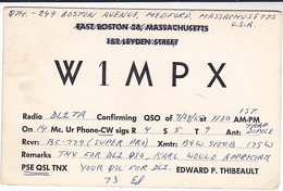 1965 QSL CARD W1MPX Medford Massachusetts USA To Germany,  Stamps Cover Radio Card - Radio Amateur
