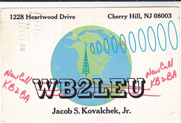 1978 QSL CARD WB2lEU KB2BA Cherry Hill New Jersey USA To GB, Stamps Cover Radio Card Postcard - Radio Amateur