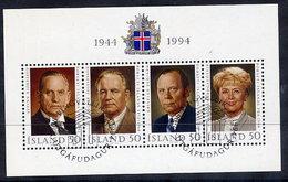 ICELAND 1994 50th Anniversary Of The Republic Block  Cancelled.  Michel Block 16 - 1944-... Republic