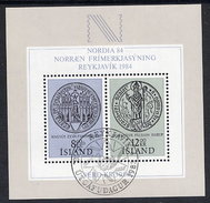 ICELAND 1983  NORDIA '84 Exhibition Block Cancelled.  Michel Block 5 - 1944-... Republic