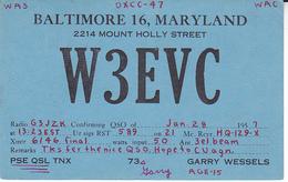 1957 QSL CARD W3EVC Baltimore USA To GB, Stamps Cover  Radio Card Postcard - Radio Amateur