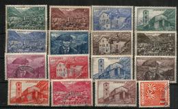 Eglise De St Jean De Caselles & Maison Des Vallées. Ancienne énission Année 1937 , 16 Timbres Oblitérés, Bonne Qualité.