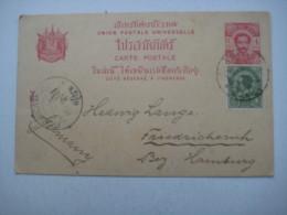 1904 , Ganzsache Mit Zusatzfrankatur Nach Deutschland - Siam