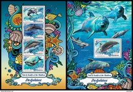 MALDIVES 2016 - Dolphins. Sealife. M/S + S/S Official Issue - Maritiem Leven