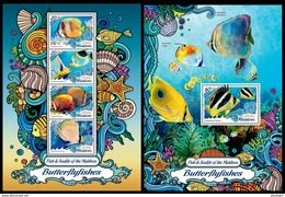 MALDIVES 2016 - Butterflyfishes. Sealife. M/S + S/S Official Issue - Marine Life