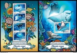 MALDIVES 2016 - Manta Rays. Sealife. M/S + S/S Official Issue - Marine Life