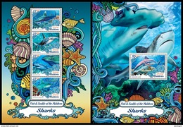 MALDIVES 2016 - Sharks. Sealife. M/S + S/S Official Issue - Marine Life