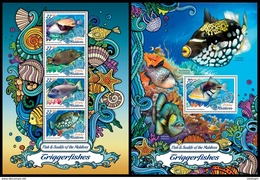 MALDIVES 2016 - Triggerfishes. Sealife. M/S + S/S Official Issue - Marine Life