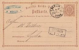 DR Ganzsache K1 Berlin P.A.45  23.1.75 Gel. Nach R2 Lychen - Deutschland