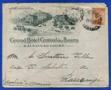 SALSOMAGGIORE - GRAND HOTEL CENTRAL DES BAINS  - 1917 BUSTA DA SALSOMAGGIORE A RACCONIGI - Publicidad