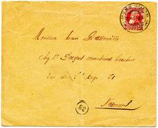 1907 OMSLAG MET COB74 VAN  MONS(STATION)!!BRUGSTEMPEL!! NAAR NAMUR - 1905 Grosse Barbe