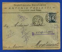 VENAGRANDE (Ascoli Piceno) - STABILIMENTO BACOLOGICO ANTONIO PAOLETTI - BUSTA - Pubblicitari
