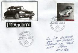 Voiture Citroën DS 21,  Enveloppe FDC Adressée En Espagne - FDC