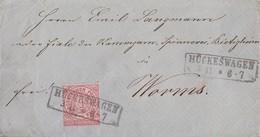 NDP Brief EF Minr.16 R2 Hückeswagen 3.11. Gel. Nach Worms - Norddeutscher Postbezirk