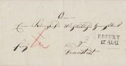 Kab. Brief Mit Inhalt Frei L2 Erfurt 17.Aug.1837 Gel. Nach Tennstedt - Deutschland