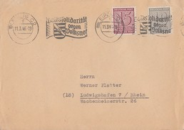 West-Sachsen Brief Mif Minr.131,133 Leipzig 11.3.46 Gel. Nach Ludwigshafen - Zone Soviétique